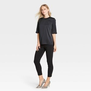 Who What Wear Elbow Length Silky Black Dress Top